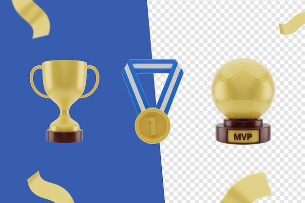 3d-symbol, trophäen und medaillen eingestellt