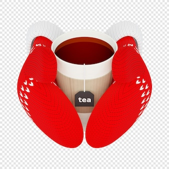 3d tasse heißen tee in gestrickten roten handschuhen isoliert 3d-darstellung