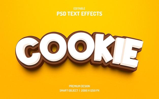 3d-text-cookie bearbeitbare textstil-effektvorlage