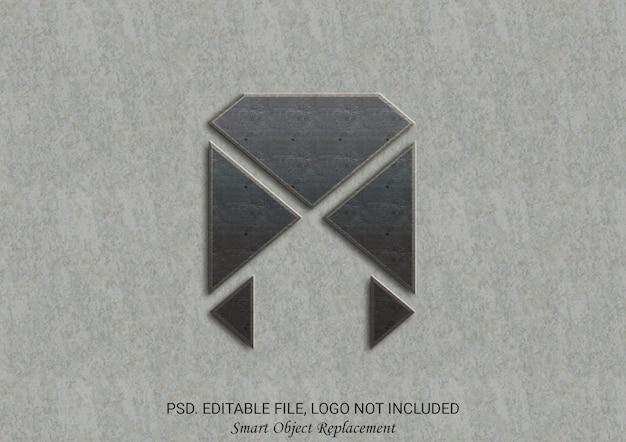 3d-texteffekt der mockup-logo-wand