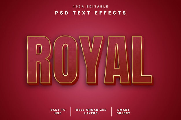 3d-texteffekt des modernen königlichen stils