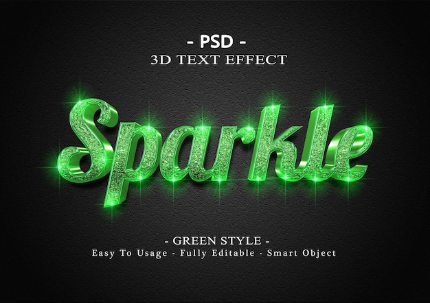 3d-texteffekt mit grünem glanz