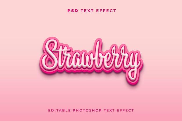 3d-texteffektvorlage für erdbeere mit rosa farbe