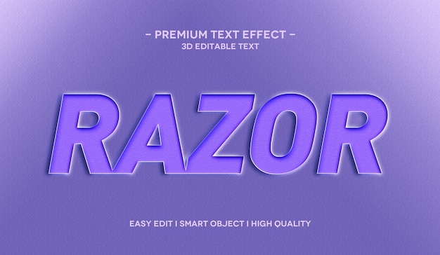 3d-textstil-effektvorlage für rasiermesser