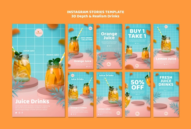 3d-tiefe und realismus trinken instagram-geschichten