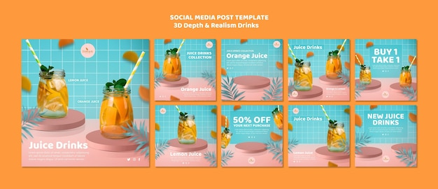 3d-tiefe und realismus trinken social-media-post