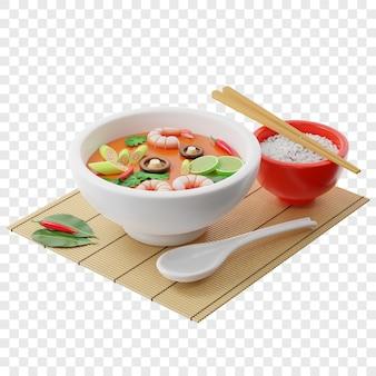 3d tom yam kung suppe in einer buddha-schüssel neben einem teller reisstäbchen ein löffel chilischoten
