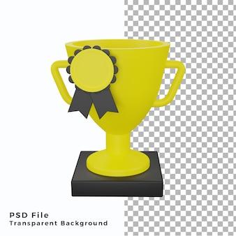 3d-trophäe mit medaillensymbol-objektillustration in hoher qualität