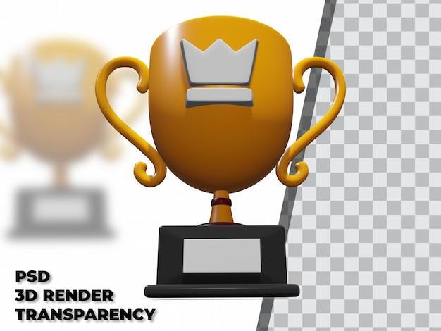 3d-trophäe mit transparenz-rendering-modellierung premium psd