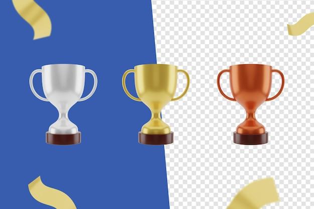 3d-trophäensymbol, gold, silber und bronze