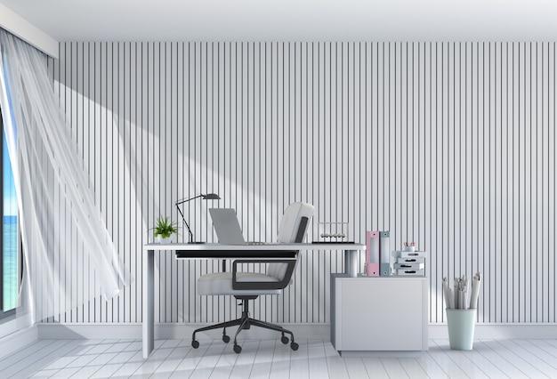 3d übertragen vom modernen wohnzimmerinnenarbeitsplatz mit schreibtisch und laptop-computer