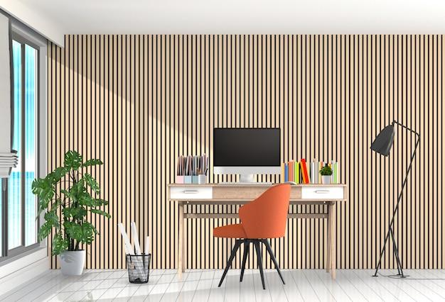 3d übertragen vom modernen wohnzimmerinnenarbeitsplatz mit schreibtisch und tischrechner