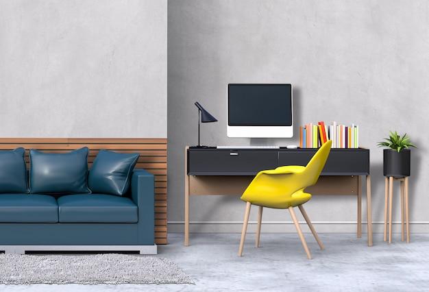 3d übertragen vom modernen wohnzimmerinnenarbeitsplatz mit sofa, schreibtisch, tischrechner