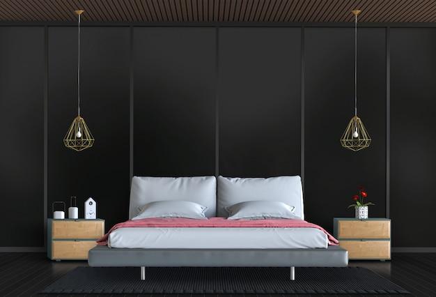 3d übertragen vom schwarzen innenschlafzimmer mit dekorationen.
