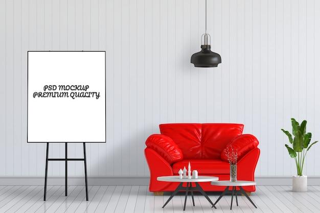 3d übertragen vom wohnzimmer-innenraum mit und flip chart