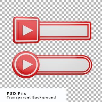 3d unteres drittel youtube logo social media icon bundle verschiedene form hohe qualität
