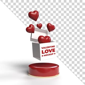3d valentine mockup geschenkbox isoliert