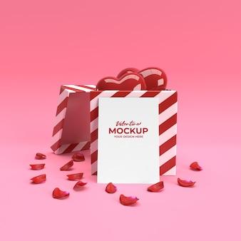 3d-valentinskartenmodell mit herzgeschenk und blütenblättern in der 3d-darstellung