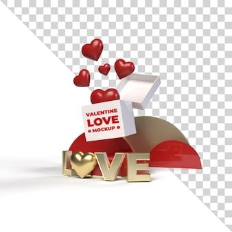 3d valentinstag liebesbühnenmodell rendern isoliert