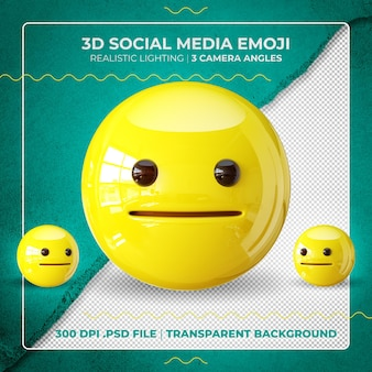 3d verblüfftes emoji isoliert