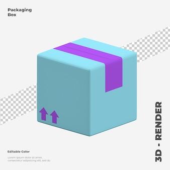 3d-verpackungsbox-symbolmodell isoliert