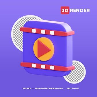 3d-videoplayer-symbol mit transparentem hintergrund