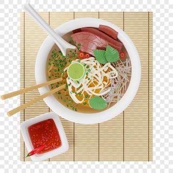 3d vietnamesische pho bo suppe mit rinderreisnudeln auf einer bambusmatte draufsicht