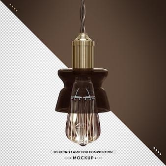 3d vintage retro lampe mit braunem finish