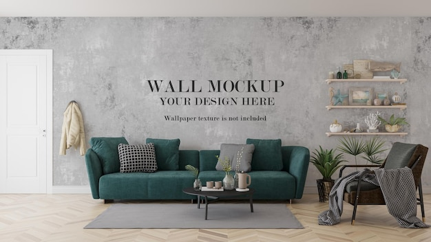 3d-visualisierungswandmodell hinter grünem sofa