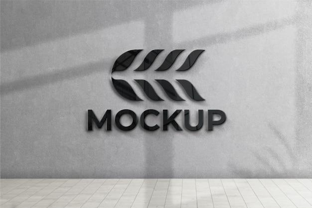 3d-wand des logo-modells vorne mit schwarzem effekt