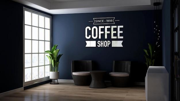 3d-wandlogo-mockup im entspannenden büro oder wohnzimmer