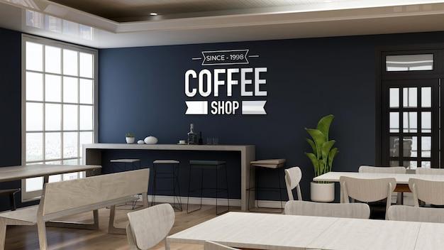 3d-wandlogo-modell im café-restaurant