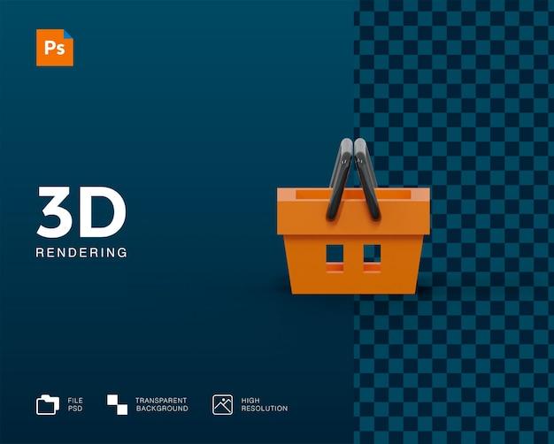 3d-warenkorb-rendering isoliert