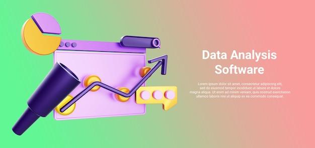 3d-web-illustration mit datendiagrammanalyse-chat-fernglas-pfeil für geschäftsillustration isoliert