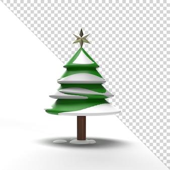 3d weihnachtsbaum mit schnee lokalisiert