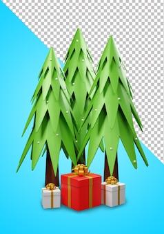 3d weihnachtsbaum und geschenkbox