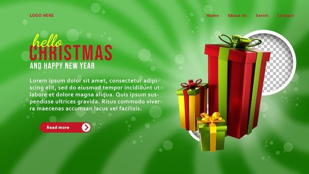 3d-weihnachtsgeschenk-landingpage-vorlage