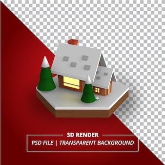 3d-weihnachtshaus auf transparentem hintergrund gerendert