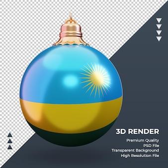 3d weihnachtskugel ruanda flagge rendering vorderansicht