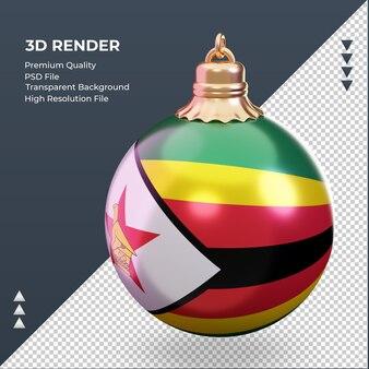 3d weihnachtskugel simbabwe flagge rendering rechte ansicht