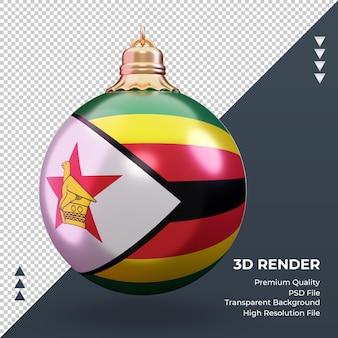 3d weihnachtskugel simbabwe flagge rendering vorderansicht