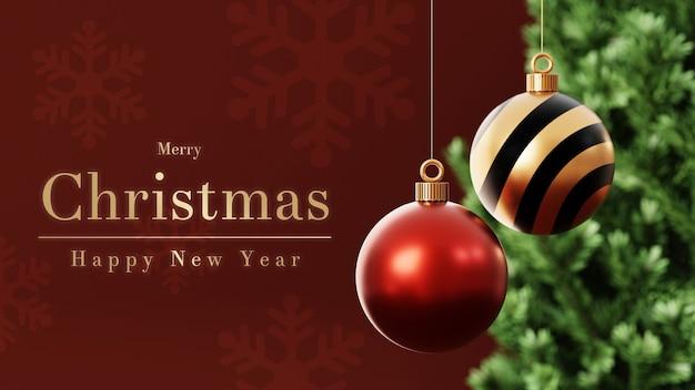 3d weihnachtskugeln mit weihnachtsbaum
