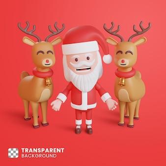 3d-weihnachtsmann mit hirschillustration