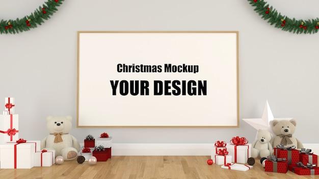 3d weihnachtsrahmenmodell mit dekorationen