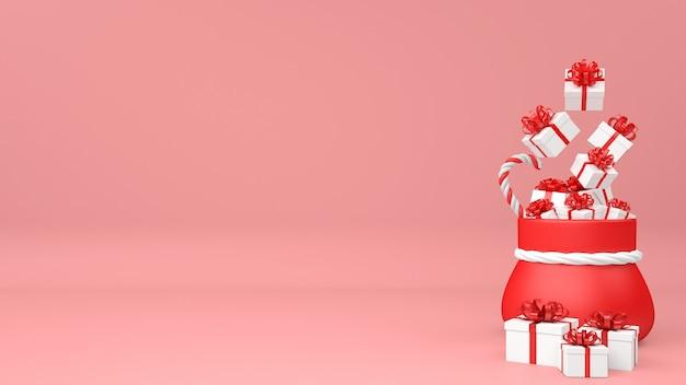 3d weihnachtstasche mit geschenkhaufen lokalisiert