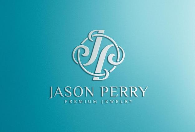 3d weißes logo-mockup auf blaugrünem hintergrund