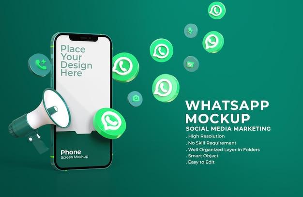 3d-whatsapp-symbole mit mobilem bildschirmmodell und megaphon