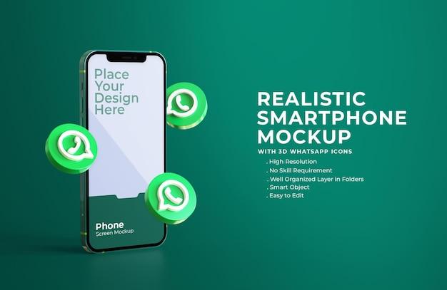 3d-whatsapp-symbole mit mobilem bildschirmmodell