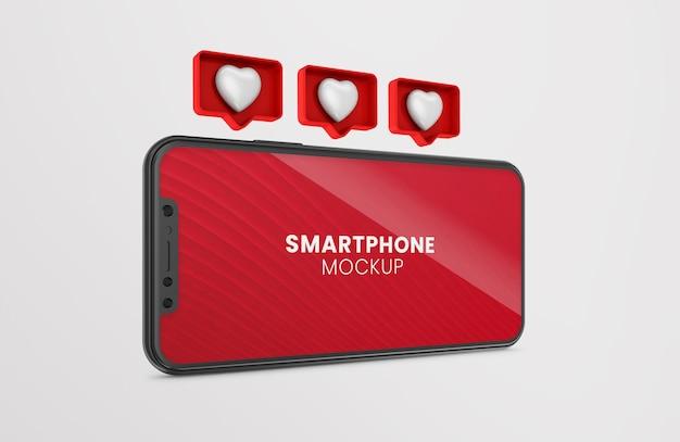 3d wie benachrichtigung rendern auf schwarzem smartphone-modell Premium PSD