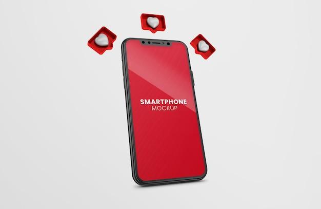 3d wie benachrichtigung rendern auf schwarzem smartphone-modell